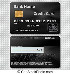 Realistic black bank plastic credit card with chip vector template isolated