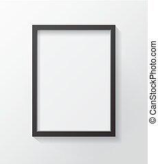 Realistic Black Blank Picture frame, hanging on a White Wall from the Front.