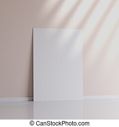 Realistic black blank picture frame near the wall, 3D rendering