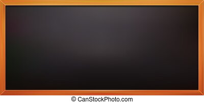 Realistic black board with wooden frame vector illustration