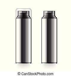 Realistic black Cosmetic bottle can sprayer container....