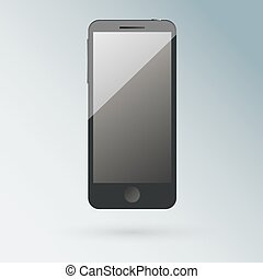 Realistic black  mobile phone with blank screen