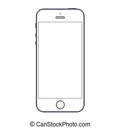 Realistic black mobile phone with blank screen isolated on white background. Vector EPS 10