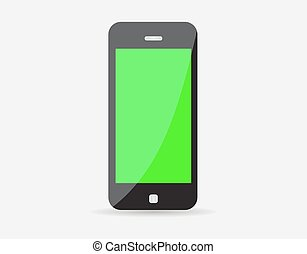Realistic black mobile phone with green screen