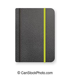 Realistic black notebook with green elastic band. Top view diary template. Closed diary. Vector notepad mockup.