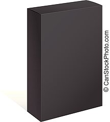 Realistic Black Open Package Box.