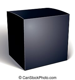 Realistic black package box