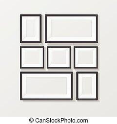 Realistic Black Picture Frames Set. Vector