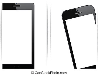 Realistic black smartphone background. - Vector illustration...