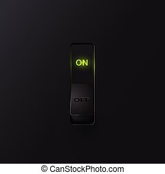 Realistic black switch with backlight ON, vector