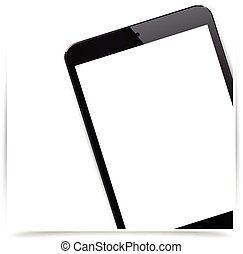 Realistic black tablet pad background. - Vector illustration...