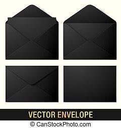 Realistic black vector envelope mockups.