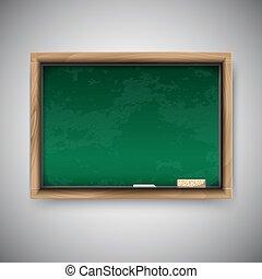 Realistic blackboard on wooden background