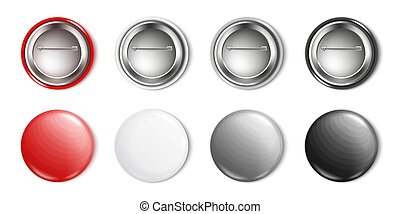 Realistic blank button pin mockup set in red, white, grey, black color