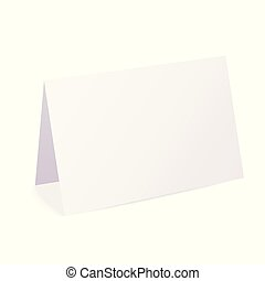 Realistic blank folded paper card isolated on white background