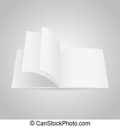 Realistic blank opened magazine mockup template. Vector