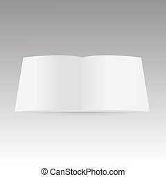 Realistic blank opened magazine mockup template. Vector.