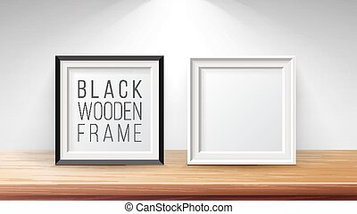 Realistic Blank Picture Frame Set Vector. Good For Posters, Presentations. Modern Clean Interior Illustration.