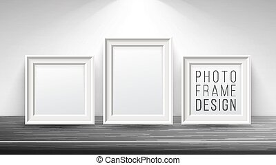 Realistic Blank Picture Frame Vector. Light Wood and Dark Wood Picture Frames Mock Up. Wooden Table On Interior Background. Front View. Realistic Design Template. Modern Clean Interior Illustration.