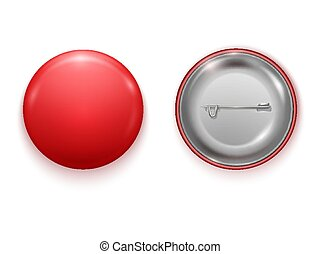 Realistic Blank red badge, vector realistic illustration isolated on white background. Vector Mockup.