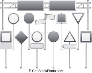 Realistic Blank Road Signs Set