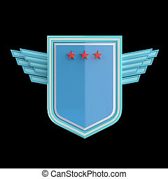 Realistic blank shield with three stars and stylized wings, hight quality rendering, isolated.
