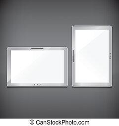 Realistic blank sliver screens set on dark background
