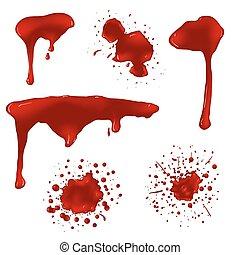 Realistic blood splatters vector set