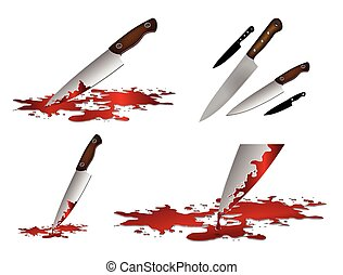 Realistic bloody knife. Knife with blood vector illustration set. Kitchen knife set isolated on white background.