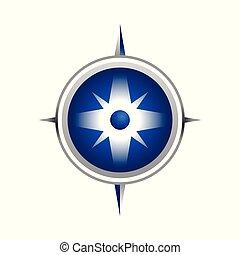Realistic Blue Compass Symbol Design