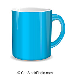 Realistic blue cup. Vector illustration