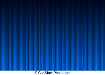 Realistic blue curtain. Illustration for design