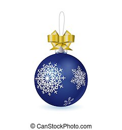 realistic blue glass new year ball with snowflakes pattern decorated with tied golden bow isolated on white background