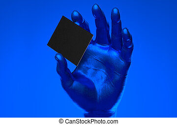 Realistic blue human hand holding blank business card with empty space isolated on blue background. 3d rendering