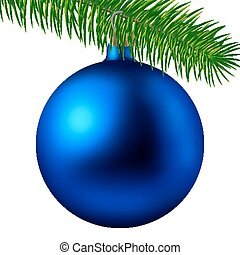Realistic blue matte Christmas ball or bauble with fir branch isolated on white background. Vector illustration