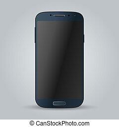Realistic blue mobile phone. Illustration image