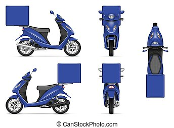 Realistic blue motorcycle vector mock-up