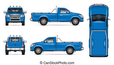 Realistic Blue Pickup Truck Vector Mock-up