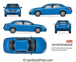 Realistic blue sedan car vector mock-up