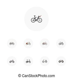 Realistic Bmx, Extreme Biking, Competition Bicycle And Other Vector Elements. Set Of  Realistic Symbols Also Includes Extreme, Bicycle, Postman Objects.