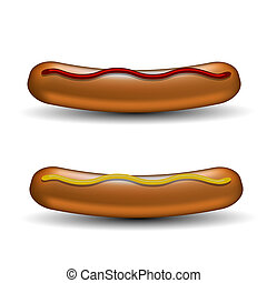Realistic Boiled Sausages With Ketchup and Mustard Isolated on White Background. Street Fast Food