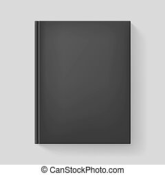 Realistic book - Black book. Illustration on gray background...