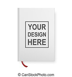 Realistic book blank cover isolated on white. Vector mock up.