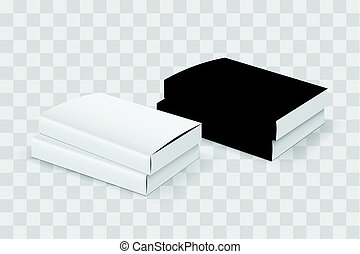 Realistic book blank cover set. Black and white template...
