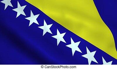 Realistic Bosnia and Herzegovina flag waving in the wind. Seamless looping.