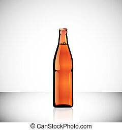 Realistic bottles of beer, ale, cola and other