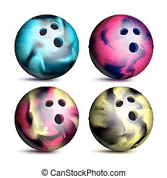 Realistic Bowling Ball Set Vector. Classic Round Ball. Different Views. Sport Game Symbol. Isolated Illustration
