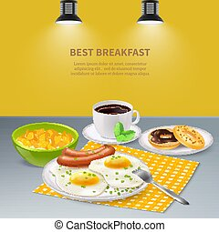 Realistic Breakfast Background