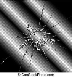 Realistic broken glass transparent illustration