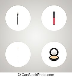 Realistic Brow Makeup Tool, Blusher, Liquid Lipstick And Other Vector Elements. Set Of Cosmetics Realistic Symbols Also Includes Makeup, Face, Blusher Objects.